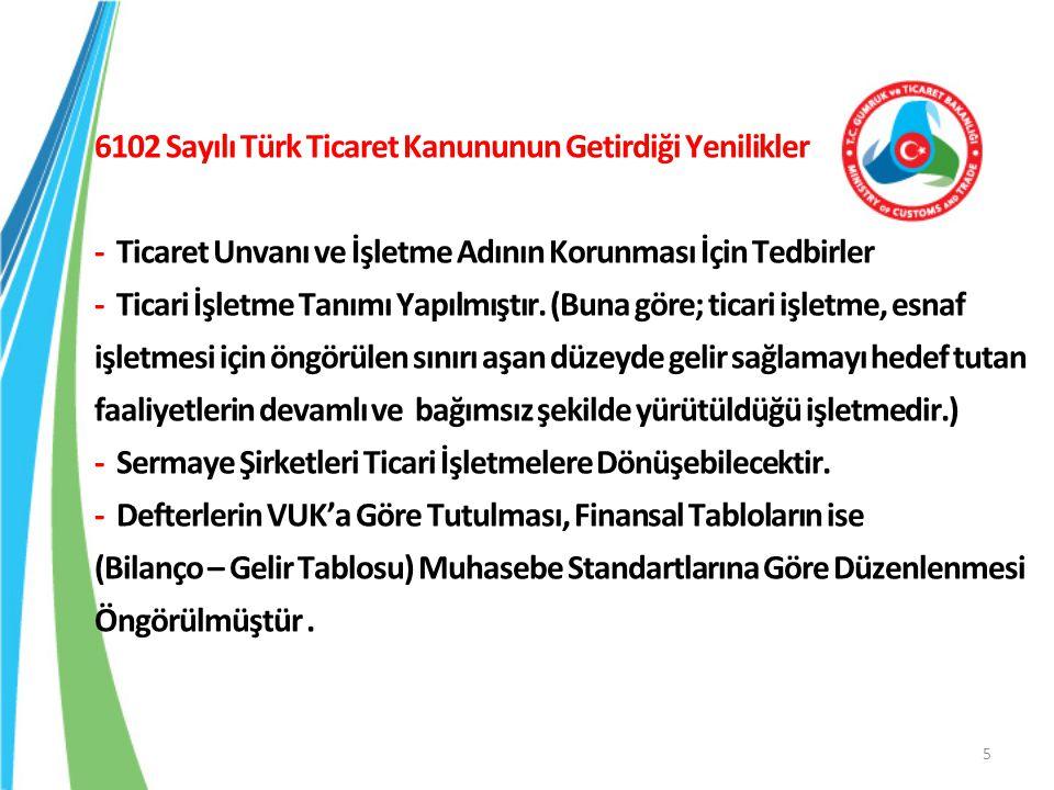 6102 Sayılı Türk Ticaret Kanununun Getirdiği Yenilikler - İşletme Konusu Dışında Üçüncü Kişilerle Yapılan İşlemler Artık Şirketi Bağlayacak - Şirketlerin Birleşme, Bölünme ve Tür Değiştirmesinde Yeni Esaslar - Alacaklıları ve Şirket Çalışanlarını Koruyucu Düzenlemeler - Şirketler Topluluğu - Bağımsız Denetim ( Bağımsız Denetime Tabi Olacak Şirketleri Belirleme Yetkisi Bakanlar Kurulu'na Verilmiştir.) 6