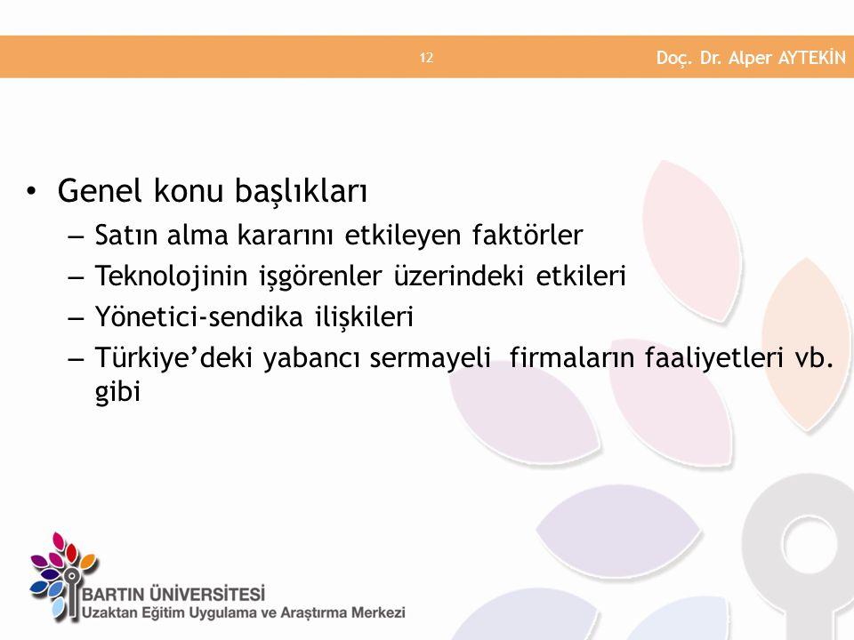 • Genel konu başlıkları – Satın alma kararını etkileyen faktörler – Teknolojinin işgörenler üzerindeki etkileri – Yönetici-sendika ilişkileri – Türkiye'deki yabancı sermayeli firmaların faaliyetleri vb.