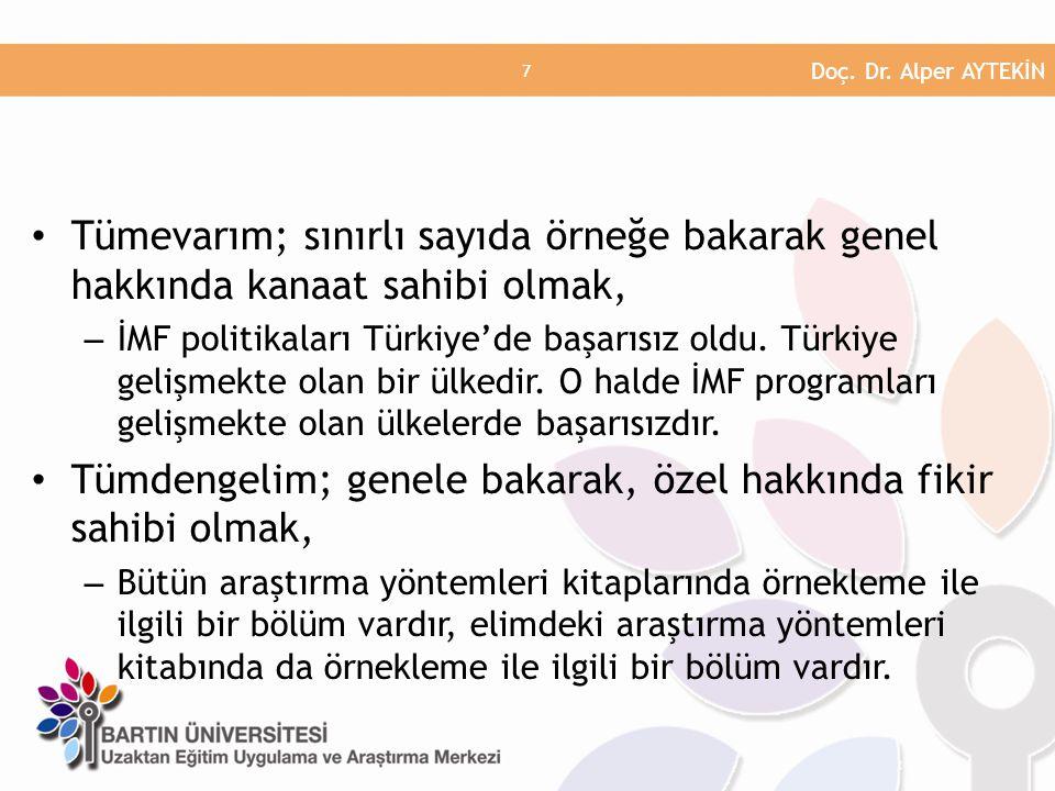 • Tümevarım; sınırlı sayıda örneğe bakarak genel hakkında kanaat sahibi olmak, – İMF politikaları Türkiye'de başarısız oldu. Türkiye gelişmekte olan b