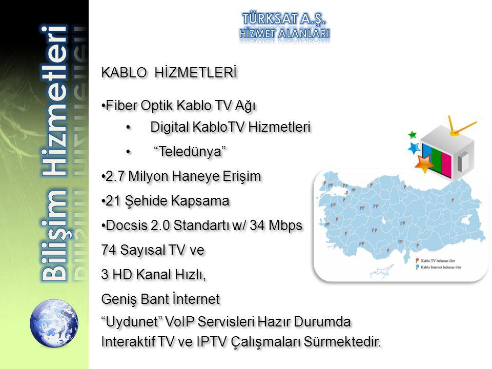 """KABLO HİZMETLERİ •Fiber Optik Kablo TV Ağı •Digital KabloTV Hizmetleri • """"Teledünya"""" •2.7 Milyon Haneye Erişim •21 Şehide Kapsama •Docsis 2.0 Standart"""