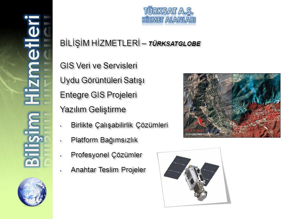 BİLİŞİM HİZMETLERİ – TÜRKSATGLOBE GIS Veri ve Servisleri Uydu Görüntüleri Satışı Entegre GIS Projeleri Yazılım Geliştirme • Birlikte Çalışabilirlik Çö