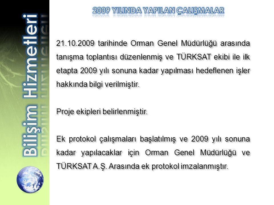21.10.2009 tarihinde Orman Genel Müdürlüğü arasında tanışma toplantısı düzenlenmiş ve TÜRKSAT ekibi ile ilk etapta 2009 yılı sonuna kadar yapılması he