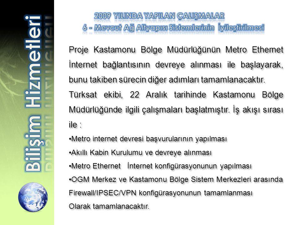 Proje Kastamonu Bölge Müdürlüğünün Metro Ethernet İnternet bağlantısının devreye alınması ile başlayarak, bunu takiben sürecin diğer adımları tamamlan