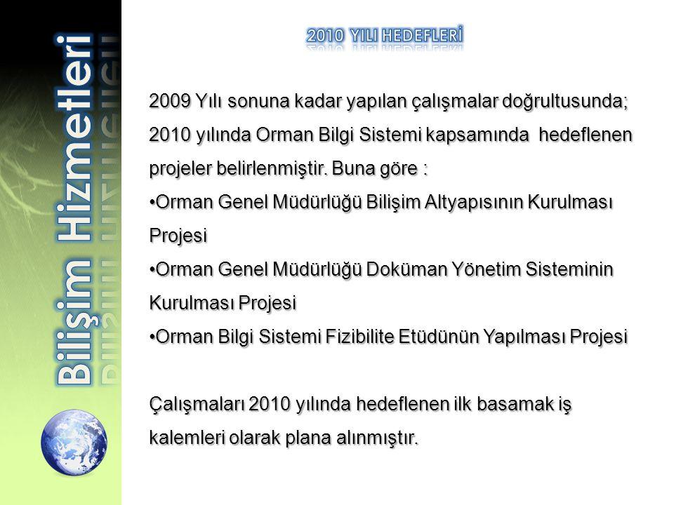 2009 Yılı sonuna kadar yapılan çalışmalar doğrultusunda; 2010 yılında Orman Bilgi Sistemi kapsamında hedeflenen projeler belirlenmiştir. Buna göre : •
