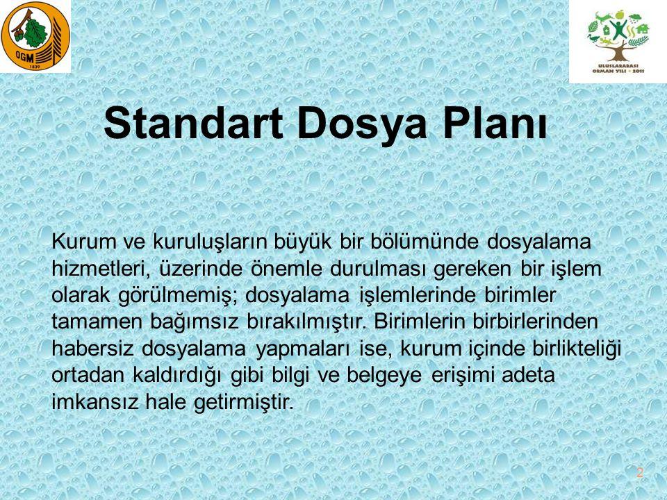 Standart Dosya Planı 2 Kurum ve kuruluşların büyük bir bölümünde dosyalama hizmetleri, üzerinde önemle durulması gereken bir işlem olarak görülmemiş;