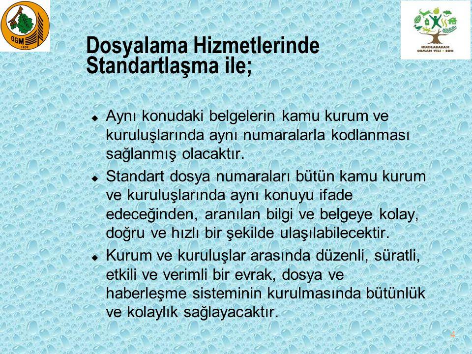 Dosyalama Hizmetlerinde Standartlaşma ile; u Aynı konudaki belgelerin kamu kurum ve kuruluşlarında aynı numaralarla kodlanması sağlanmış olacaktır. u