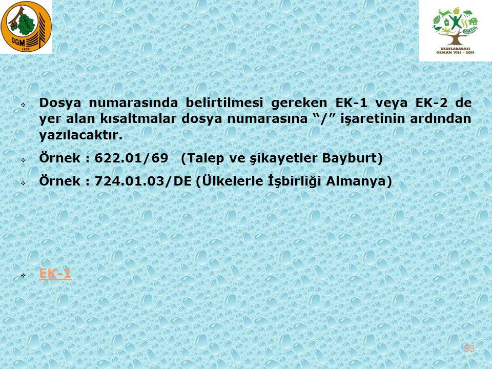 """ Dosya numarasında belirtilmesi gereken EK-1 veya EK-2 de yer alan kısaltmalar dosya numarasına """"/"""" işaretinin ardından yazılacaktır.  Örnek : 622.0"""