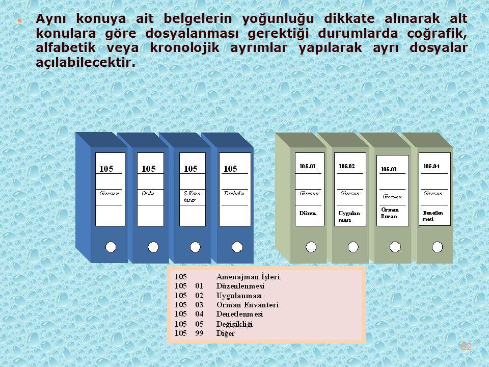n Aynı konuya ait belgelerin yoğunluğu dikkate alınarak alt konulara göre dosyalanması gerektiği durumlarda coğrafik, alfabetik veya kronolojik ayrıml
