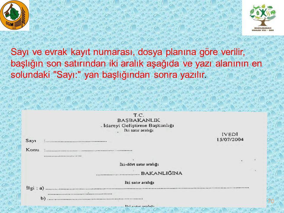 Sayı ve evrak kayıt numarası, dosya planına göre verilir, başlığın son satırından iki aralık aşağıda ve yazı alanının en solundaki