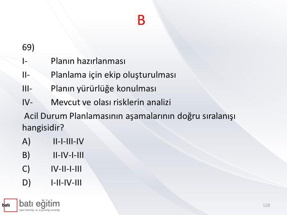 B 69) I-Planın hazırlanması II-Planlama için ekip oluşturulması III-Planın yürürlüğe konulması IV-Mevcut ve olası risklerin analizi Acil Durum Planlam
