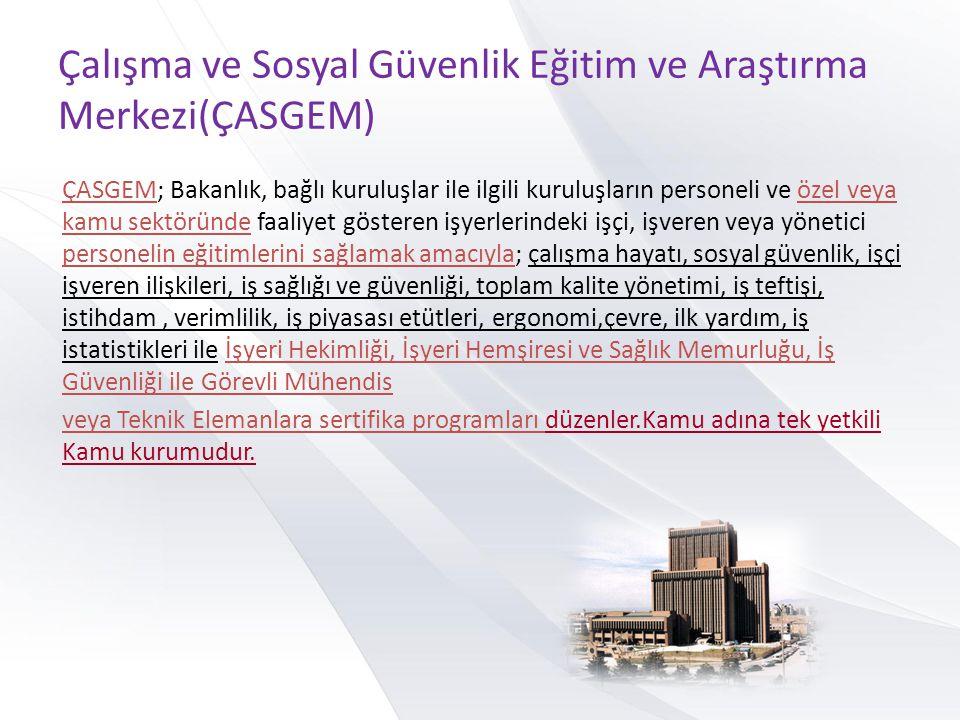Çalışma ve Sosyal Güvenlik Eğitim ve Araştırma Merkezi(ÇASGEM) ÇASGEM; Bakanlık, bağlı kuruluşlar ile ilgili kuruluşların personeli ve özel veya kamu