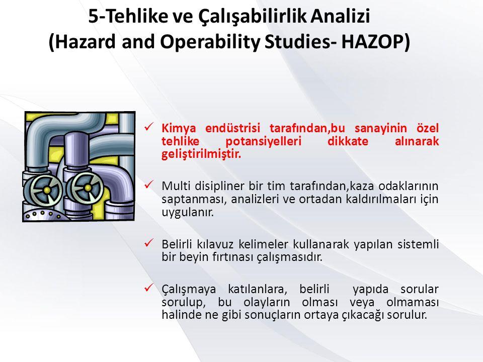 5-Tehlike ve Çalışabilirlik Analizi (Hazard and Operability Studies- HAZOP)  Kimya endüstrisi tarafından,bu sanayinin özel tehlike potansiyelleri dik
