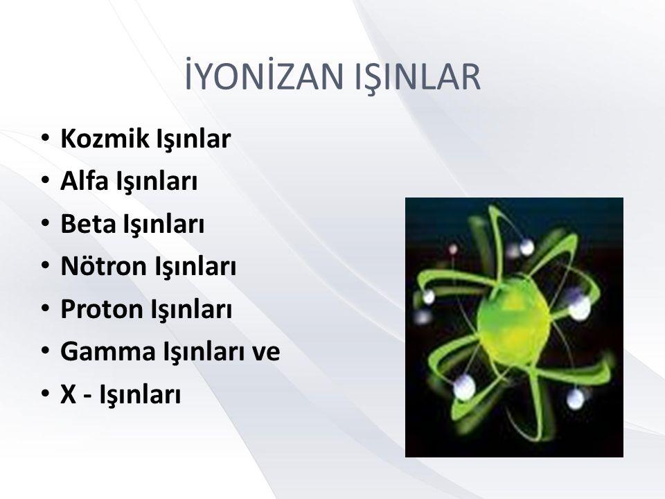 İYONİZAN IŞINLAR • Kozmik Işınlar • Alfa Işınları • Beta Işınları • Nötron Işınları • Proton Işınları • Gamma Işınları ve • X - Işınları