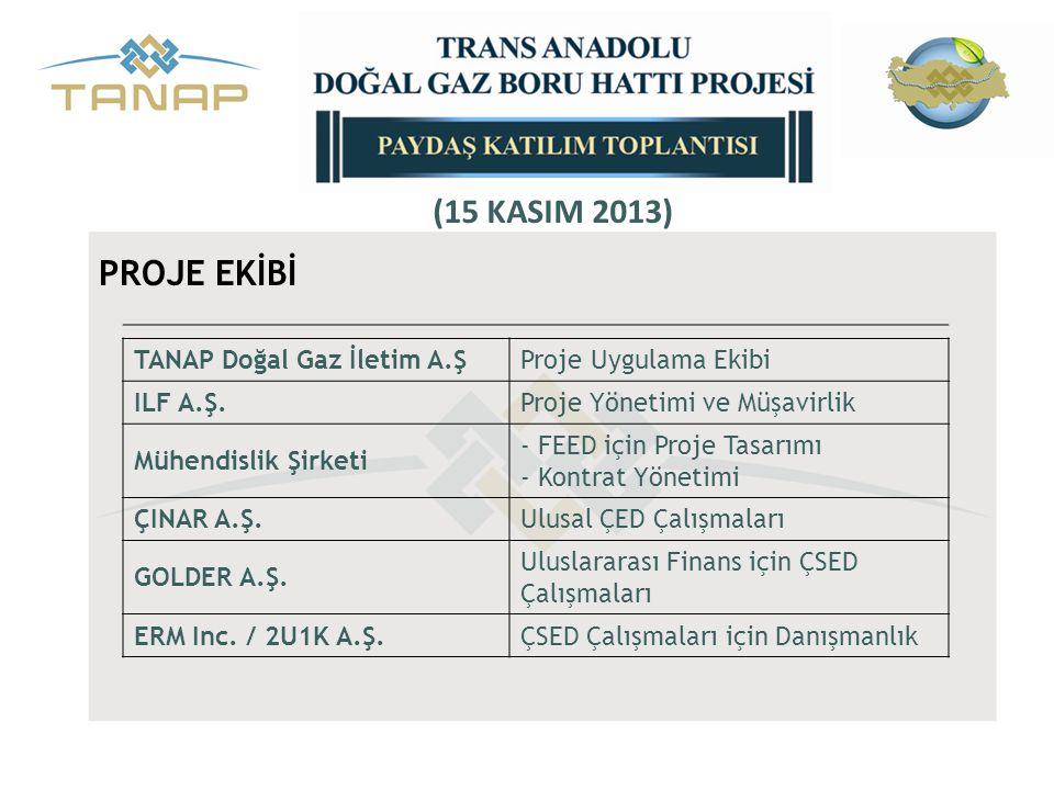 TANAP Doğal Gaz İletim A.ŞProje Uygulama Ekibi ILF A.Ş.Proje Yönetimi ve Müşavirlik Mühendislik Şirketi - FEED için Proje Tasarımı - Kontrat Yönetimi