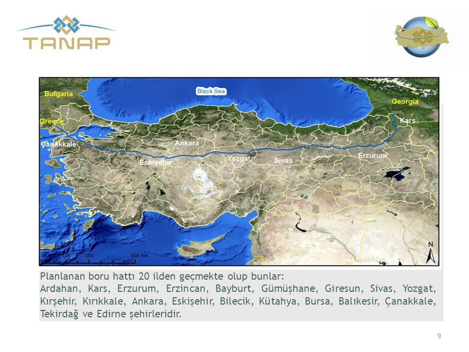 Planlanan boru hattı 20 ilden geçmekte olup bunlar: Ardahan, Kars, Erzurum, Erzincan, Bayburt, Gümüşhane, Giresun, Sivas, Yozgat, Kırşehir, Kırıkkale,