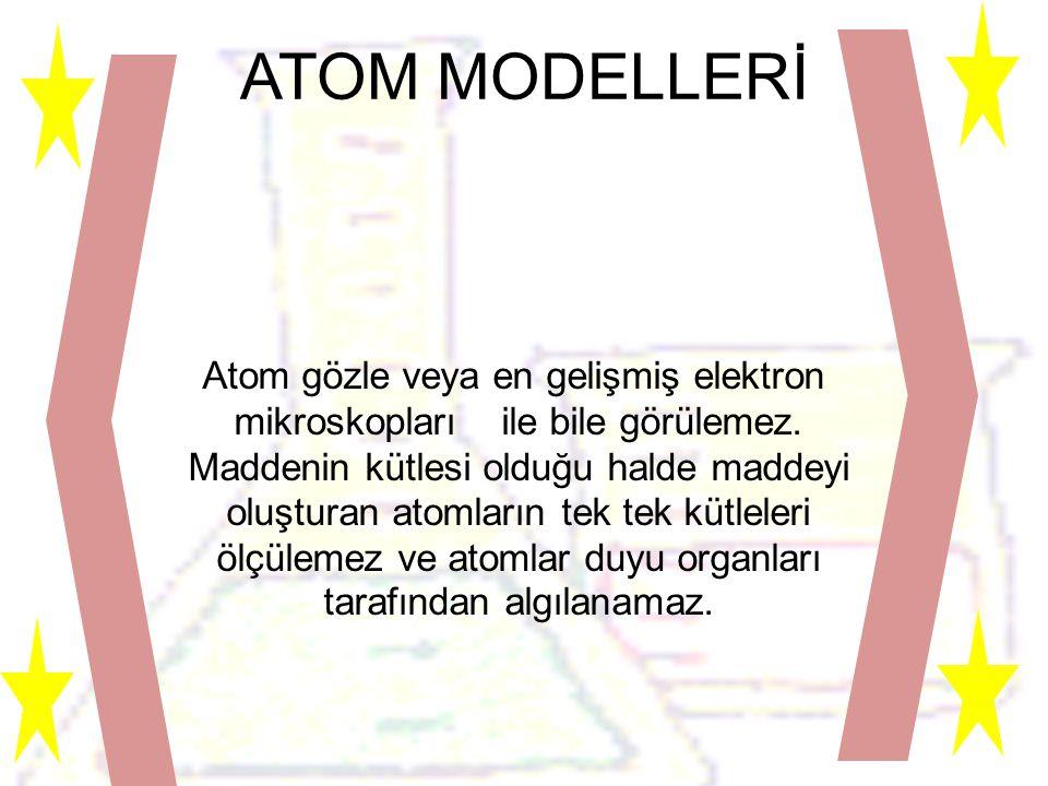 ATOM MODELLERİ Atom gözle veya en gelişmiş elektron mikroskopları ile bile görülemez.