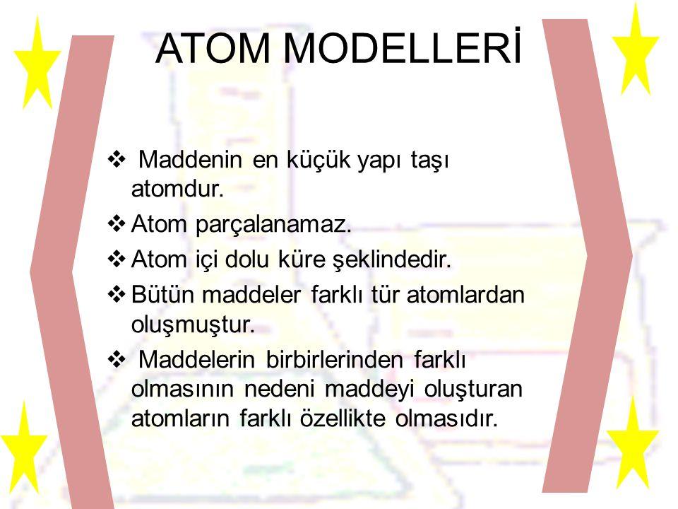 ATOM MODELLERİ  Maddenin en küçük yapı taşı atomdur.