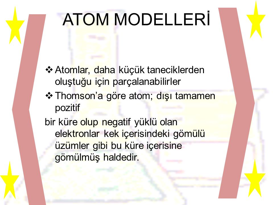 ATOM MODELLERİ  Atomlar, daha küçük taneciklerden oluştuğu için parçalanabilirler  Thomson'a göre atom; dışı tamamen pozitif bir küre olup negatif yüklü olan elektronlar kek içerisindeki gömülü üzümler gibi bu küre içerisine gömülmüş haldedir.