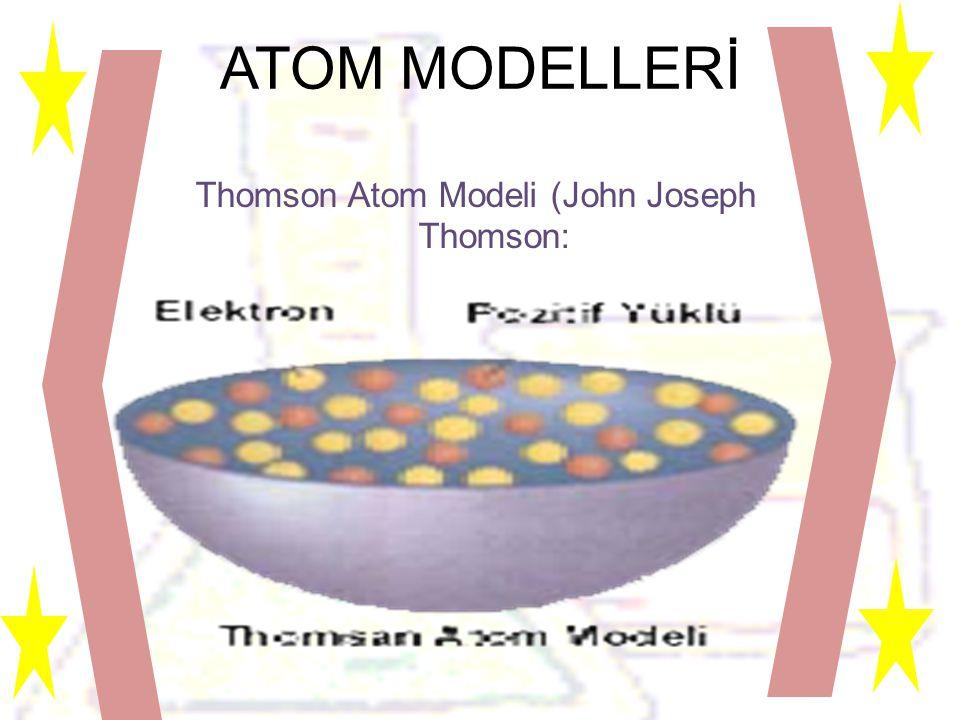 ATOM MODELLERİ Thomson Atom Modeli (John Joseph Thomson: