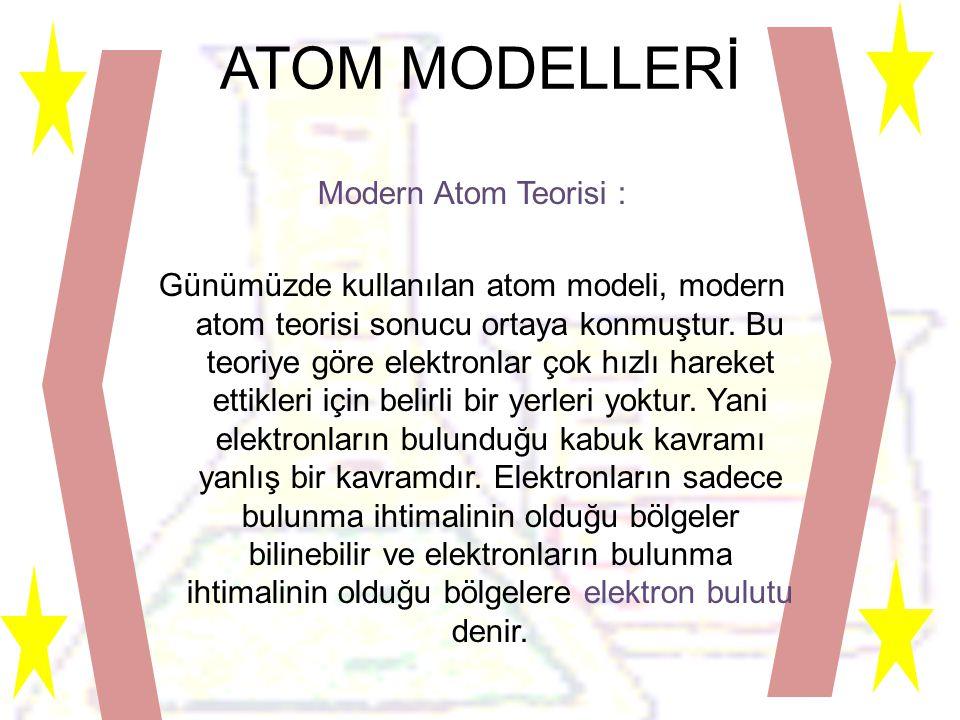 ATOM MODELLERİ Modern Atom Teorisi : Günümüzde kullanılan atom modeli, modern atom teorisi sonucu ortaya konmuştur.