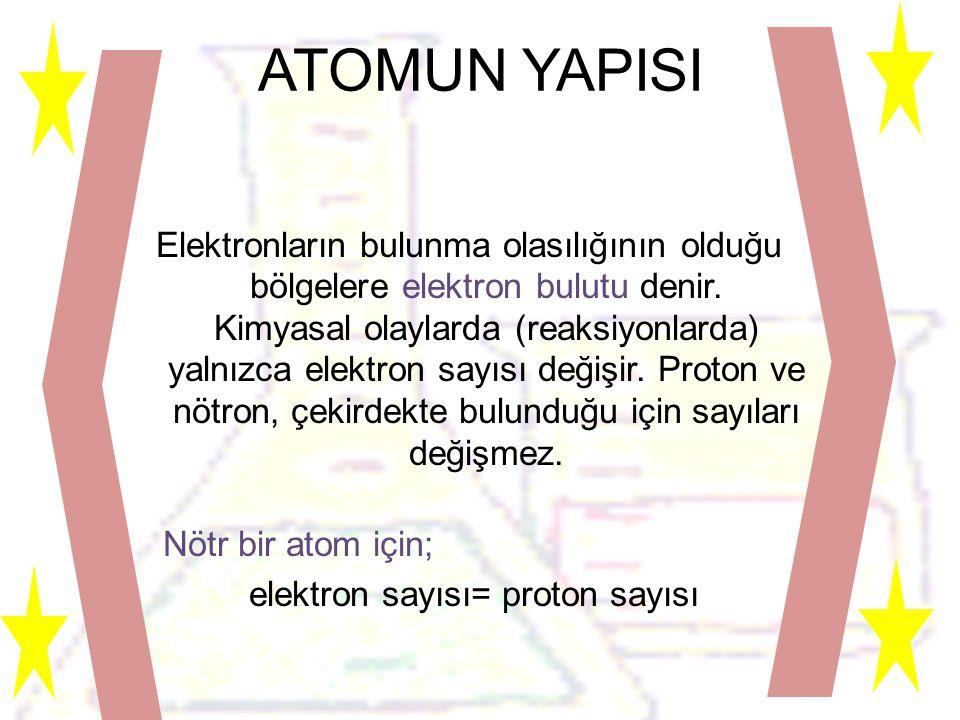 ATOMUN YAPISI Elektronların bulunma olasılığının olduğu bölgelere elektron bulutu denir.