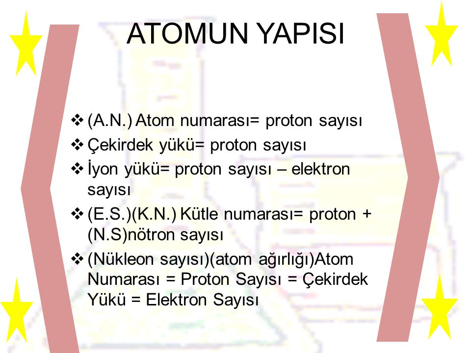 ATOMUN YAPISI  (A.N.) Atom numarası= proton sayısı  Çekirdek yükü= proton sayısı  İyon yükü= proton sayısı – elektron sayısı  (E.S.)(K.N.) Kütle numarası= proton + (N.S)nötron sayısı  (Nükleon sayısı)(atom ağırlığı)Atom Numarası = Proton Sayısı = Çekirdek Yükü = Elektron Sayısı
