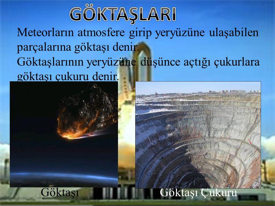 Meteorların atmosfere girip yeryüzüne ulaşabilen parçalarına göktaşı denir.