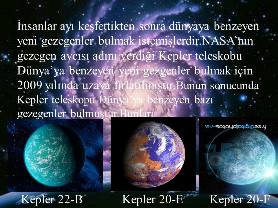 İnsanlar ayı keşfettikten sonra dünyaya benzeyen yeni gezegenler bulmak istemişlerdir.NASA'nın gezegen avcısı adını verdiği Kepler teleskobu Dünya'ya