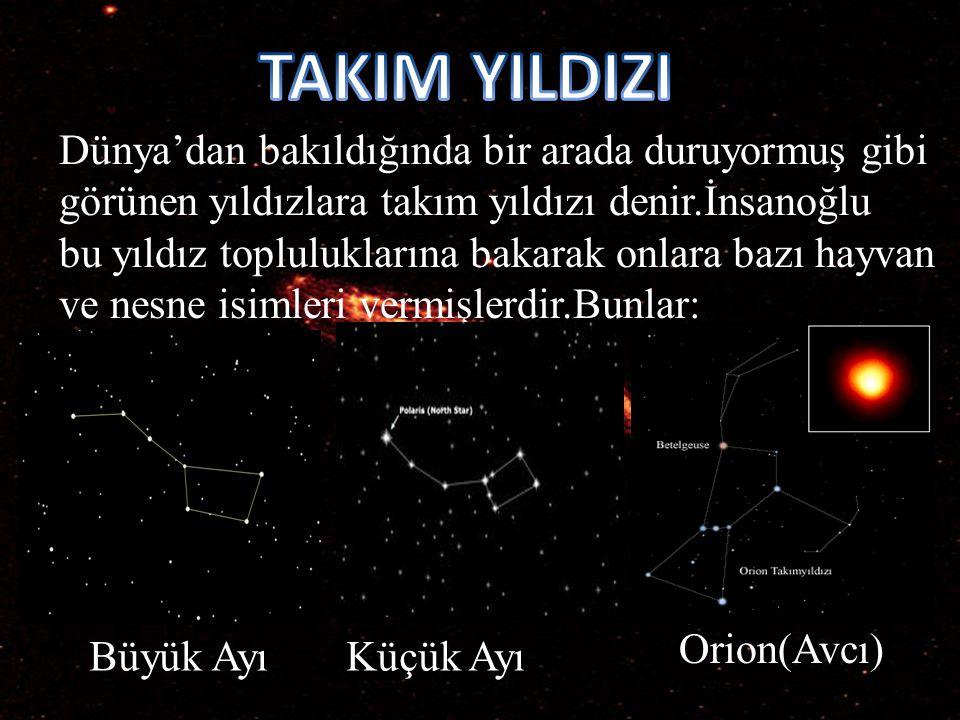 Dünya'dan bakıldığında bir arada duruyormuş gibi görünen yıldızlara takım yıldızı denir.İnsanoğlu bu yıldız topluluklarına bakarak onlara bazı hayvan ve nesne isimleri vermişlerdir.Bunlar: Büyük AyıKüçük Ayı Orion(Avcı)