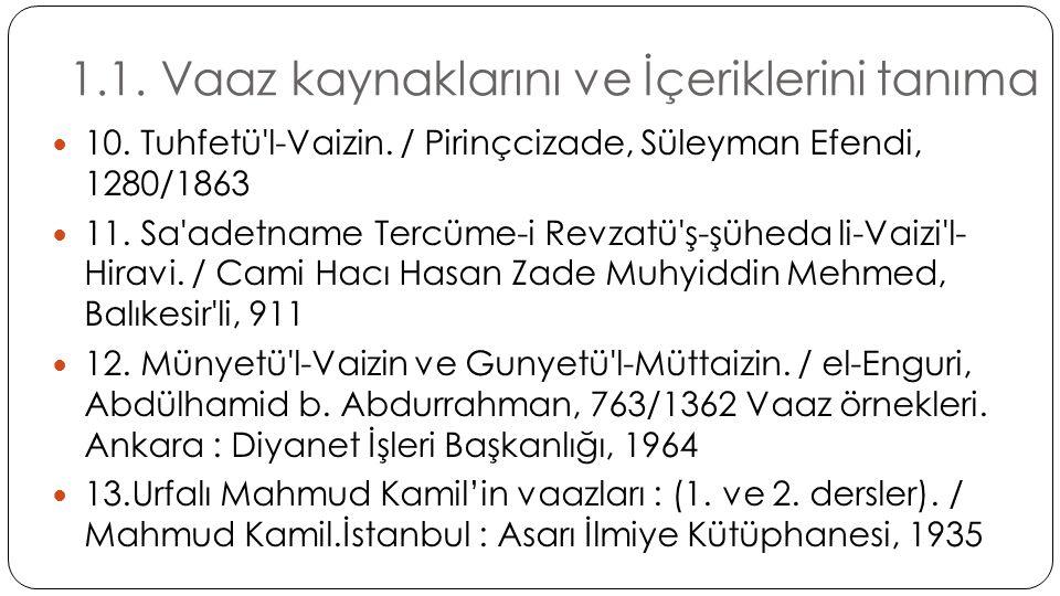 1.1. Vaaz kaynaklarını ve İçeriklerini tanıma  10. Tuhfetü'l-Vaizin. / Pirinçcizade, Süleyman Efendi, 1280/1863  11. Sa'adetname Tercüme-i Revzatü'ş
