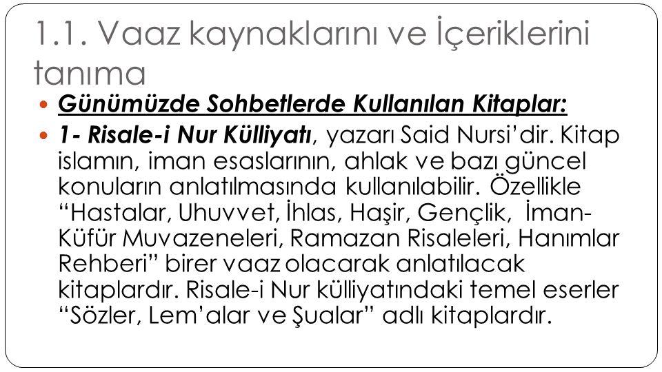 1.1. Vaaz kaynaklarını ve İçeriklerini tanıma  Günümüzde Sohbetlerde Kullanılan Kitaplar:  1- Risale-i Nur Külliyatı, yazarı Said Nursi'dir. Kitap i