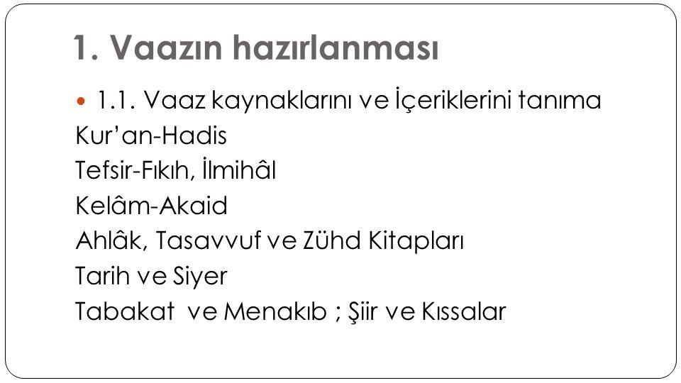1. Vaazın hazırlanması  1.1. Vaaz kaynaklarını ve İçeriklerini tanıma Kur'an-Hadis Tefsir-Fıkıh, İlmihâl Kelâm-Akaid Ahlâk, Tasavvuf ve Zühd Kitaplar