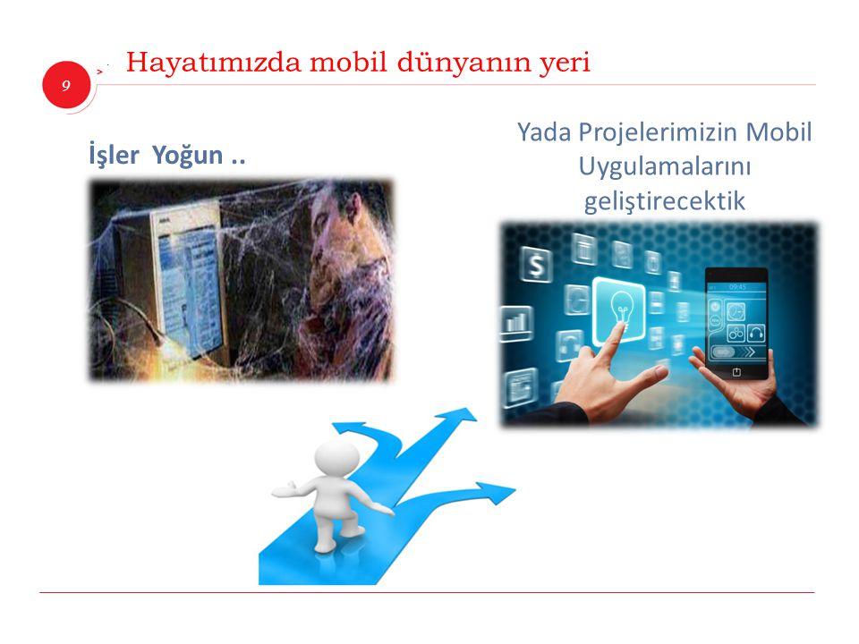 9 İnnova Bilişim Çözümleri Hayatımızda mobil dünyanın yeri İşler Yoğun.. Yada Projelerimizin Mobil Uygulamalarını geliştirecektik