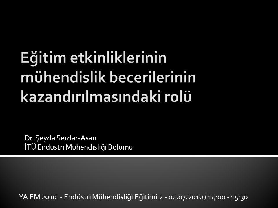 Dr. Şeyda Serdar-Asan İTÜ Endüstri Mühendisliği Bölümü YA EM 2010 - Endüstri Mühendisliği Eğitimi 2 - 02.07.2010 / 14:00 - 15:30
