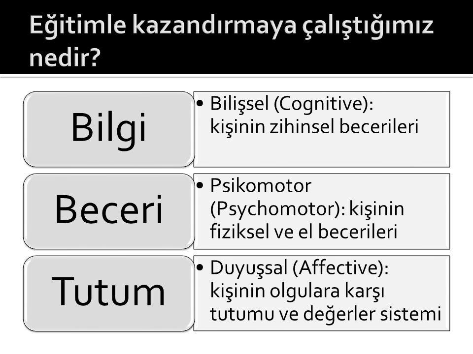 •Bilişsel (Cognitive): kişinin zihinsel becerileri Bilgi •Psikomotor (Psychomotor): kişinin fiziksel ve el becerileri Beceri •Duyuşsal (Affective): ki