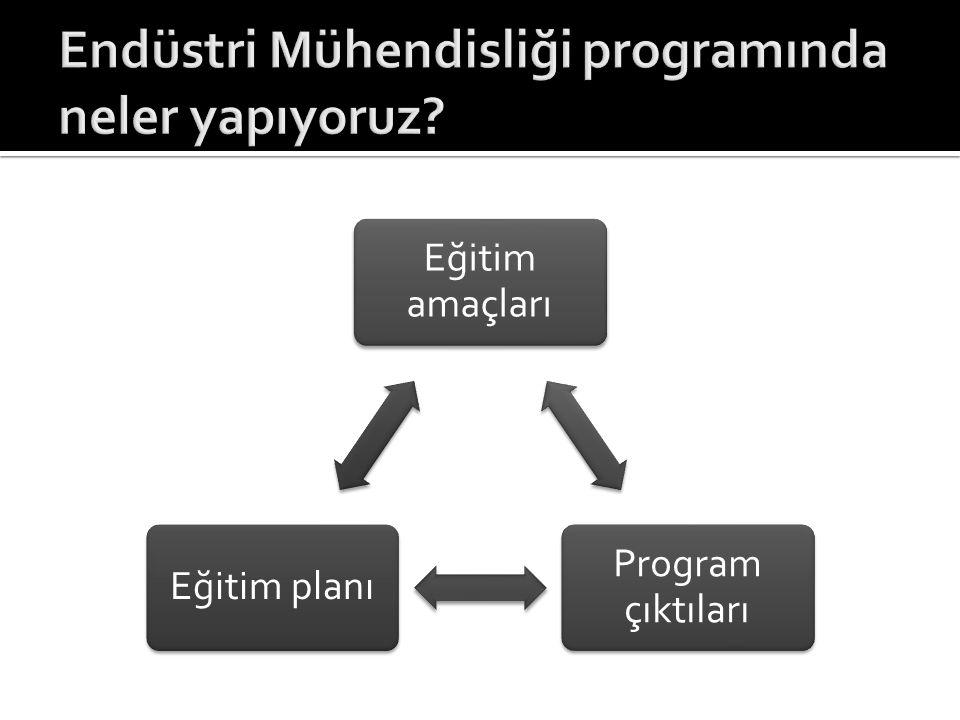 Eğitim amaçları Program çıktıları Eğitim planı