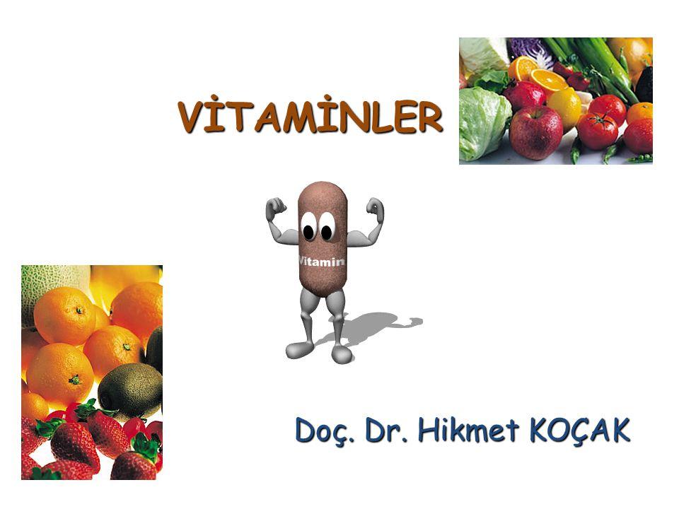 Tablo 2: İnsanlarda Günlük Alınması Gereken Vitaminlerin Alt, Ortalama ve Üst Sınırları