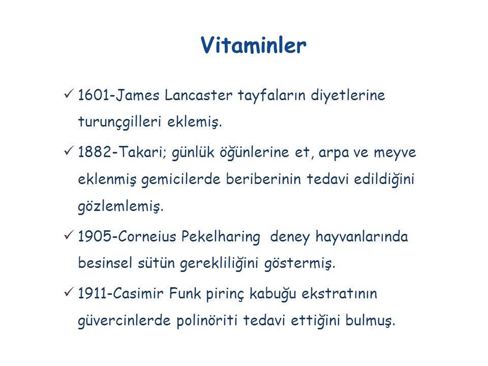  Vitaminler suda ve yağda çözünürlüklerine göre iki sınıfa ayrılırlar; ayrıca vitamin benzeri bileşikler de vardır.