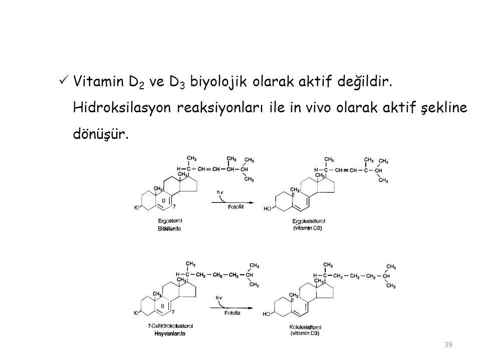  Vitamin D 2 ve D 3 biyolojik olarak aktif değildir. Hidroksilasyon reaksiyonları ile in vivo olarak aktif şekline dönüşür. 39