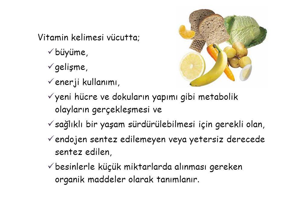 Vitamin kelimesi vücutta;  büyüme,  gelişme,  enerji kullanımı,  yeni hücre ve dokuların yapımı gibi metabolik olayların gerçekleşmesi ve  sağlık