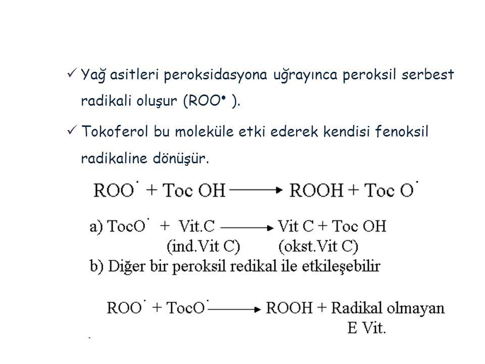  Yağ asitleri peroksidasyona uğrayınca peroksil serbest radikali oluşur (ROO  ).  Tokoferol bu moleküle etki ederek kendisi fenoksil radikaline dön