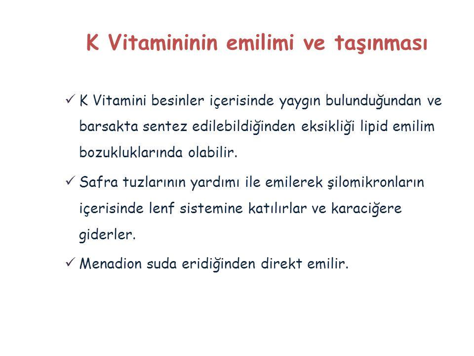  K Vitamini besinler içerisinde yaygın bulunduğundan ve barsakta sentez edilebildiğinden eksikliği lipid emilim bozukluklarında olabilir.  Safra tuz