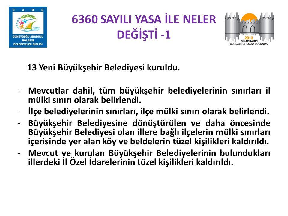6360 SAYILI YASA İLE NELER DEĞİŞTİ -1 13 Yeni Büyükşehir Belediyesi kuruldu. -Mevcutlar dahil, tüm büyükşehir belediyelerinin sınırları il mülki sınır