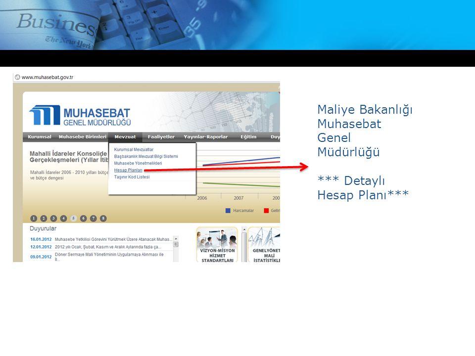 Maliye Bakanlığı Muhasebat Genel Müdürlüğü *** Detaylı Hesap Planı***