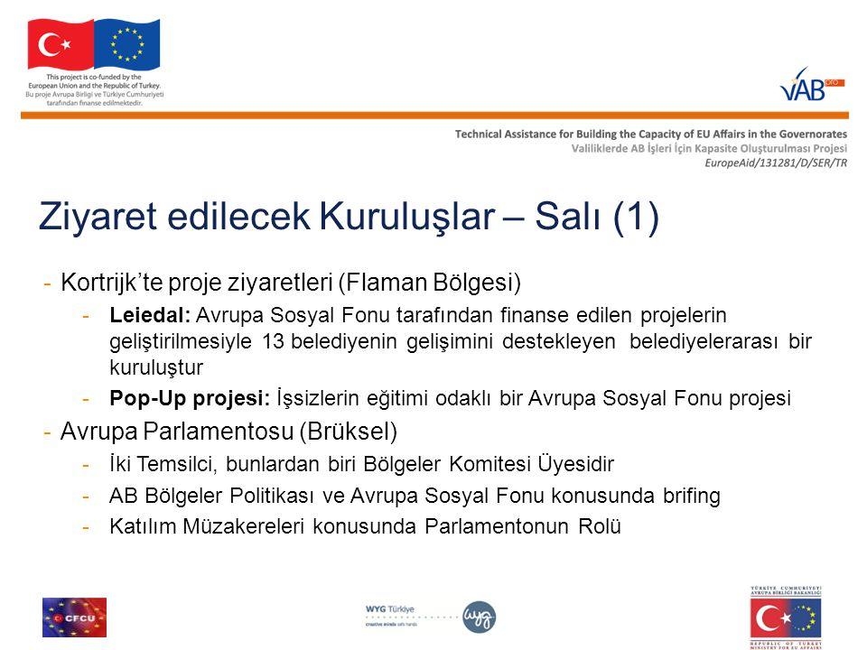 Ziyaret edilecek Kuruluşlar – Salı (1) -Kortrijk'te proje ziyaretleri (Flaman Bölgesi) -Leiedal: Avrupa Sosyal Fonu tarafından finanse edilen projeler