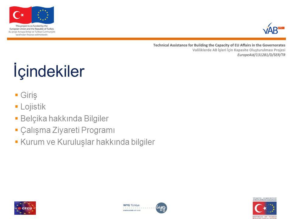 İçindekiler  Giriş  Lojistik  Belçika hakkında Bilgiler  Çalışma Ziyareti Programı  Kurum ve Kuruluşlar hakkında bilgiler