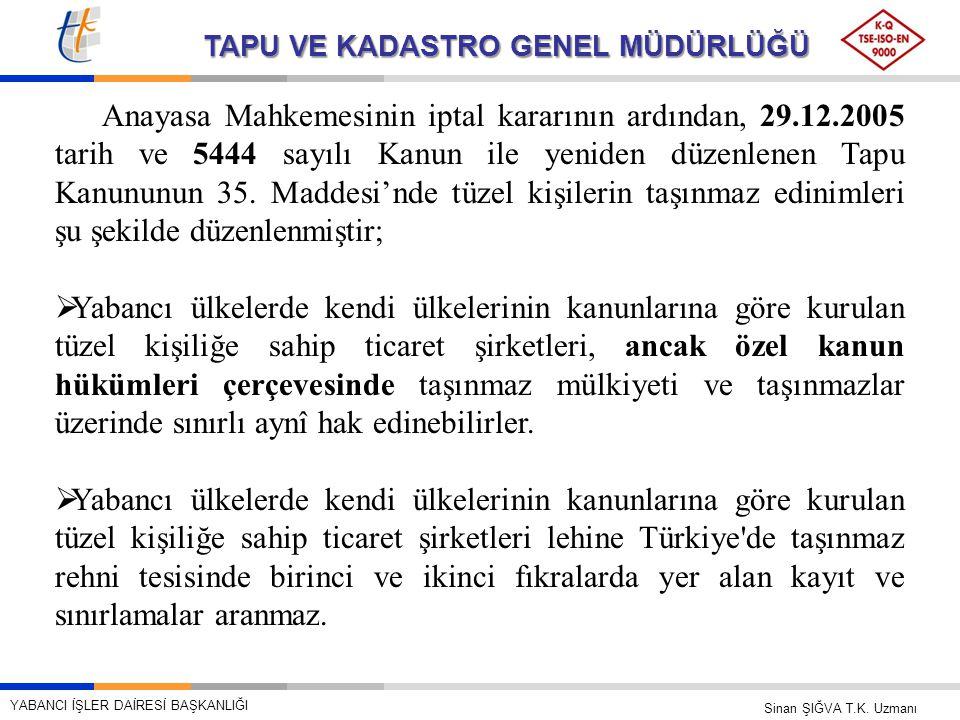 TAPU VE KADASTRO GENEL MÜDÜRLÜĞÜ Anayasa Mahkemesinin iptal kararının ardından, 29.12.2005 tarih ve 5444 sayılı Kanun ile yeniden düzenlenen Tapu Kanu