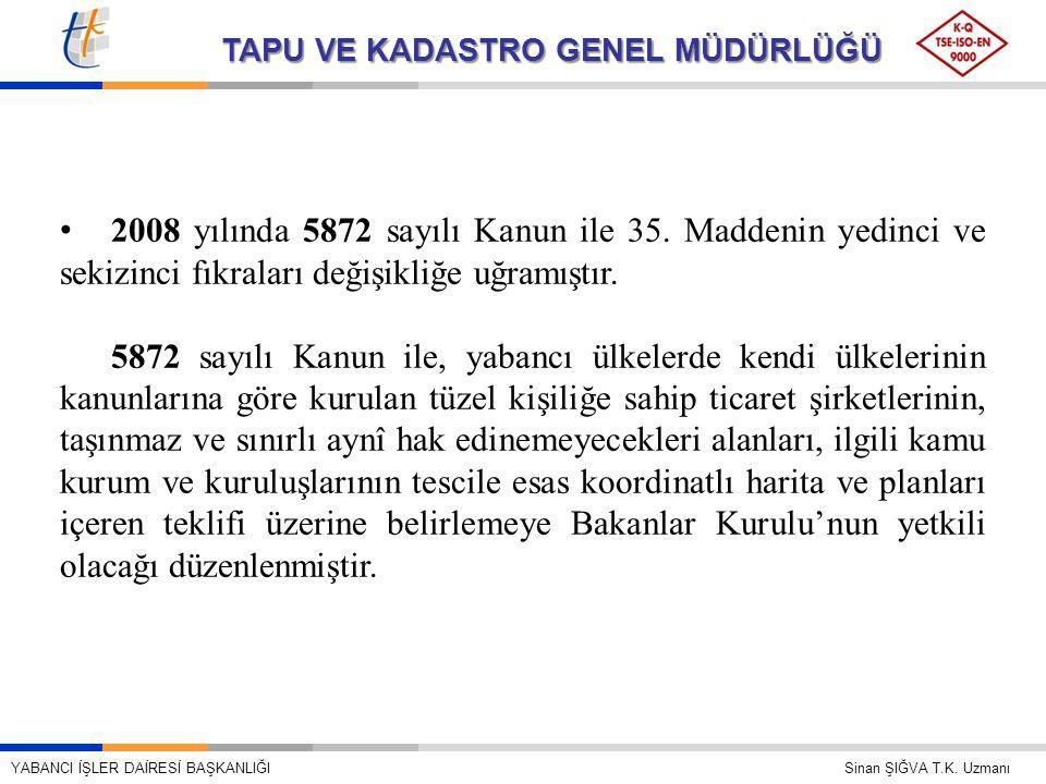 TAPU VE KADASTRO GENEL MÜDÜRLÜĞÜ • 2008 yılında 5872 sayılı Kanun ile 35. Maddenin yedinci ve sekizinci fıkraları değişikliğe uğramıştır. 5872 sayılı