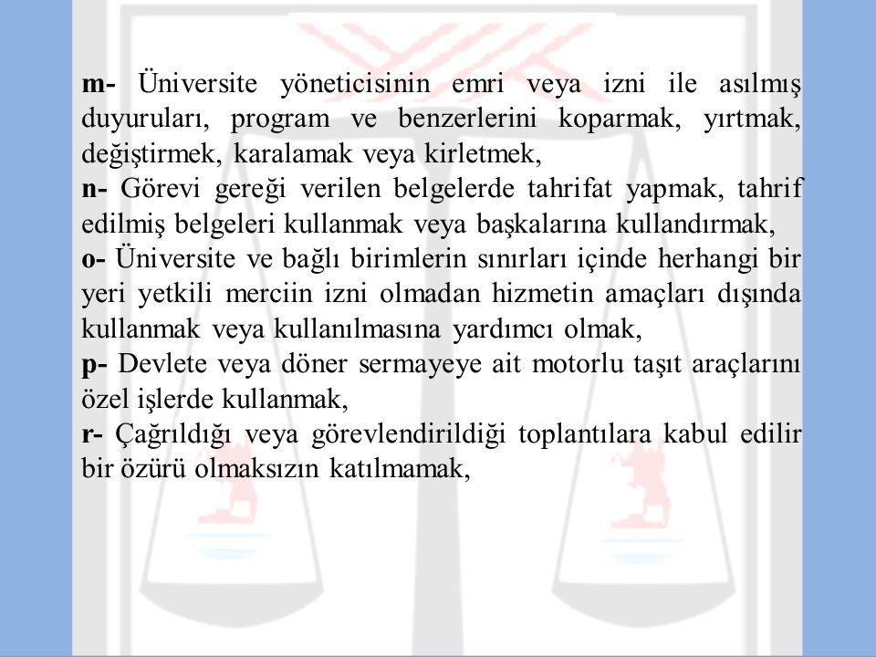 m- Üniversite yöneticisinin emri veya izni ile asılmış duyuruları, program ve benzerlerini koparmak, yırtmak, değiştirmek, karalamak veya kirletmek, n