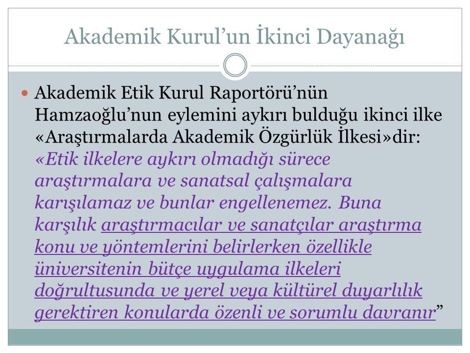 Akademik Kurul'un İkinci Dayanağı  Akademik Etik Kurul Raportörü'nün Hamzaoğlu'nun eylemini aykırı bulduğu ikinci ilke «Araştırmalarda Akademik Özgür